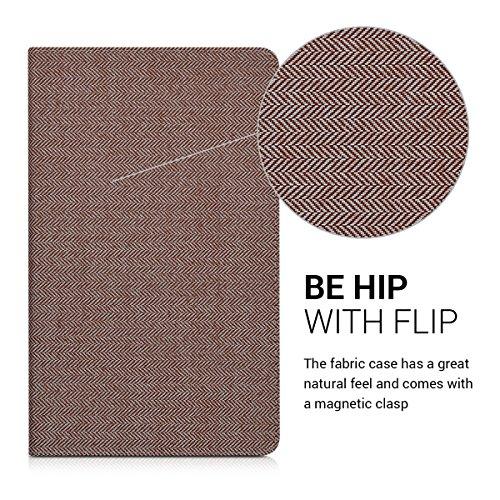 kwmobile Hülle für Huawei MediaPad T2 10.0 Pro - Tabletcover Slim Case Tablet Schutzhülle - Smart Cover Tabletcase Canvas Design Braun - 2