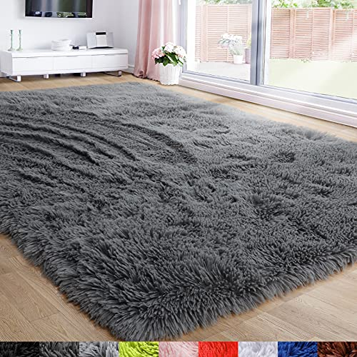 soft rugs for bedrooms Gray Area Rug for Bedroom,4'X6',Fluffy Shag Rug for Living Room,Furry Carpet for Kids Room,Shaggy Throw Rug for Nursery Room,Fuzzy Plush Rug,Grey Carpet,Rectangle,Cute Room Decor for Baby
