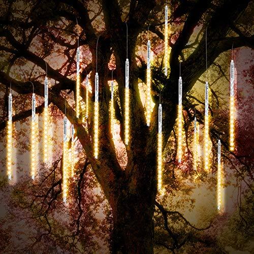 Preisvergleich Produktbild Vikdio Meteorschauer Regen Lichter 30 cm 10 Spiralröhren 300 LEDs wasserdichte Schneefall Lichterketten für Hochzeit Weihnachtsbaum Wohnkultur,  Unterstützung 2 Sätze Haken Zusammen (Warmweiß)