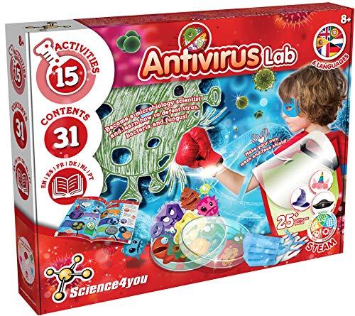Science4you - Laboratorio Antivirus Juego de Experimentos para Niños 8+ años - Hace Jabones y Crea bacterias y hongos - Kit...