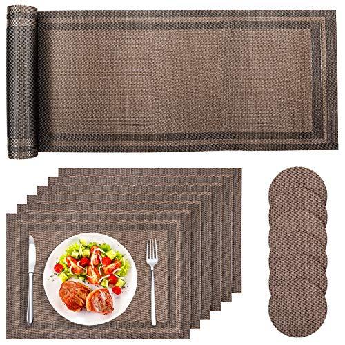 Tencoz Tischset, Platzset Abwaschbar PVC Tischsets rutschfest Platzdeckchen, Tischset x 6, Untersetzer x 6, Tischläufer x 1, Platzmatten rutschfest Hitzebeständig for Küche, Speisetisch