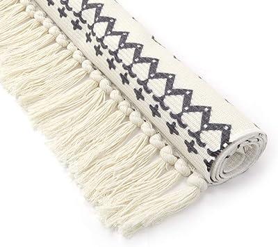 Cotton Printed Rug, Seavish Decorative Grey and Cream Bohemia Kilim Rug Hand Woven Rag Rug Entryway Thin Throw Rug 2x4.3 for Laundry Room Living Room Dorm