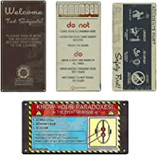 Toynk Portal Tin Wall Sign Set of 4: Remember, Welcome, Safety First, Paradox