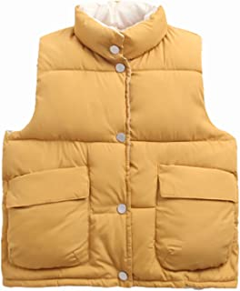 NOMSOCR Toddler Baby Boys Girls Solid Color Waistcoat Kid Winter Cotton Vest Jacket Coat (1T, Yellow)