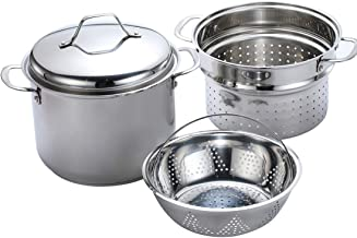 Momscook 8-Quart Classic Stainless Steel Covered Stockpot, Pasta Cooker Steamer Multipots Set with Two Layers of Steamer Pasta Insert, 4-Piece