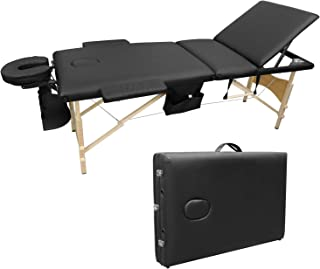 Ootori 3 Folding Massage Table Set Portable Adjustable Professional Massage Bed Facial SPA Tattoo Bed Carry Case W/Sheet Cradle Bolsters Hanger,Wide Arms,73inch(Black)