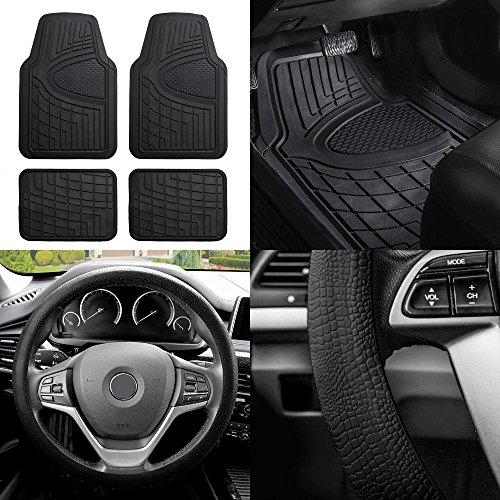 FH Group F11311 Premium Tall Channel Trimmable Rubber Floor Mats w. FH3001 Snake Pattern Silicone Steering Wheel Cover, Solid Black- Universal Fit for Trucks, SUVs, and Vans