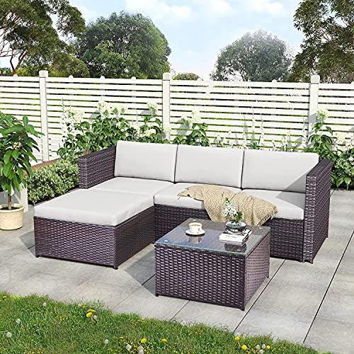 ModernLuxe Polyrattan Lounge Sitzgruppe Couch Sofagarnitur, Lounge Gartenm?Bel, Ecksofa,...