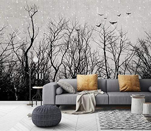 Papel Pintado Pared Dormitorio Fotomurales Decorativos Pared Tapiz De Pared 3D Nostálgico Pared De Fondo De Tv De Árbol Grande Blanco Y Negro Papel Pintado Cuadros Habitacion Bebe Posters Mural Pared