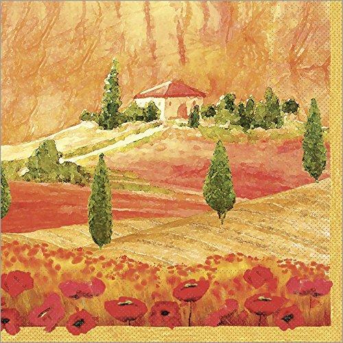Vlag HORECA servet Lombardia | tissue 40x40 cm | herfst landschap kunst | 100 stuks terracotta