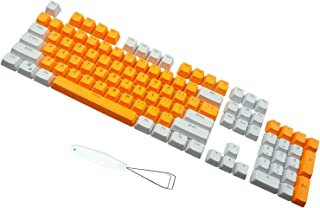 PBT Backlit Keycaps 104 Keys Cherry Mx Blue Switches Key Caps with Keycaps Puller for DIY Mechanical Keyboard (White Orange)