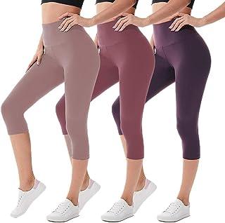 we fleece High Waisted Capri Leggings for Women - Tummy Control Workout Yoga Pants Athletic Sport 1/2/3 Pack Women's Leggings
