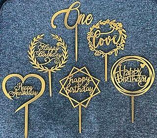 6 Styles - Cake Decoration: Happy Birthday (3 Styles), Happy Anniversary (1 Style), Love (1 Style), One (1 Style) Cake Top...