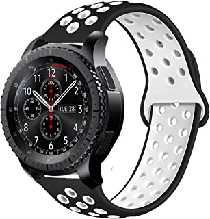 22mm Silicone Watch Strap Replacement for Samsung Gear S3 Frontier Classic/Galaxy Watch 46mm Quick Release Sport Band Comp...