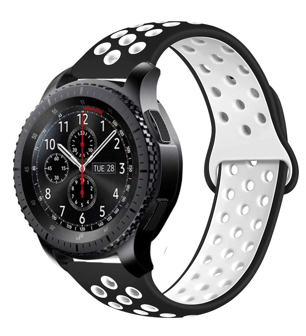 MroTech Correa Silicona de Reloj 22mm Universal Compatible para Samsung Gear S3 Frontier, Galaxy Watch 46mm, Amazfit Pace, Pebble Time,Huawei 2 Classic,Moto 360 2 Gen 46mm y más (Negro/Blanco): Amazon.es: Electrónica
