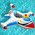 OVV Baby Inflatable Pool Float Airplane Swimming Float Boat with Steering Wheel Horn for Kids Toddlers Age 1-4 Boys Girls Inflatable Ride-ons Summer Pool Swim Ring Beach Supplies