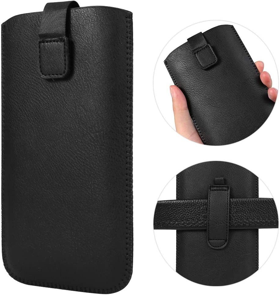 Vertical Cell Phone Holster Case Holder Pouch with Belt Loop for Naked Samsung Galaxy A30S A20 A50 A31 A51 S10 Plus / OnePlus 6T / Moto G Stylus G8 Power Play Plus G7 Z4 / Pixel 4 XL, 3a XL, 3 XL