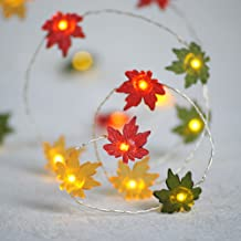 Impress Life Fall Decor String Lights, 10ft 40LED Maple Leaf Fairy Light Silver Wire Battery Operated with Remote Control ...