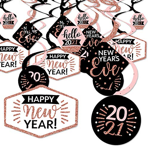Big Dot of Happiness Rose Gold Happy New Year - 2021 New Years Eve Party Hanging Decor - Party Decoration Swirls - Set of 40