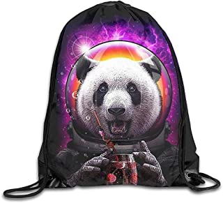 Mochilas De Cordones,Mochila De Alpinismo,Drawstring Bolsa De Gimnasio,Astronauta Panda Drink Cherry Juice Funnysports Mochila Cinch,Bolso Escolar,Bolsas De Viaje