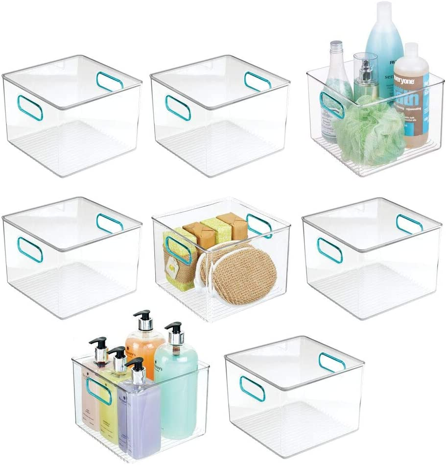 mDesign Plastic Very popular Storage Max 61% OFF Bin with Hand Handles Organizing Soa for