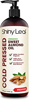 Organic Sweet Almond Oil for Hair and Skin, 100% Pure and Cold-Pressed, Hexane-Free, Lightweight, Non-Greasy Skin Moisturi...