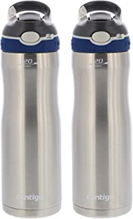 Autospout Straw Ashland Chill Stainless Steel Vacuum Insulated Water Bottle - Spout Shield Protects from Germs - BPA Free - Great for Sports, Home, Travel, 20oz - Monaco (2 Pack)