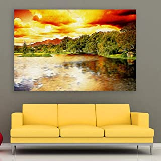 Inephos Framed Canvas Painting - Beautiful Lake Art Wall Painting for Living Room, Bedroom, Office, Hotels, Drawing Room (...