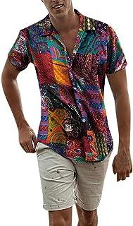 FossenHom Camisas de Hombre Manga Corta Casual Hawaiana con Estampado étnica de Lino y Algodón - Camisas Hombre Baratas Fi...