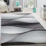 Paco Home Designer Teppich Modern Abstrakt Wellen Optik Konturenschnitt In Grau Anthrazit, Grösse:80x150 cm