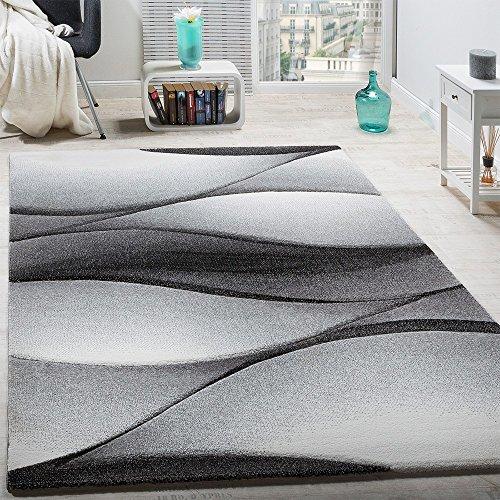 Paco Home Designer Teppich Modern Abstrakt Wellen Optik Konturenschnitt In Grau Anthrazit, Grösse:200x290 cm