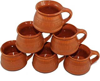 Odishabazaar Ceramic Kulhar Cups Traditional Indian Chai Tea Cup Set of 6 (skc-47)