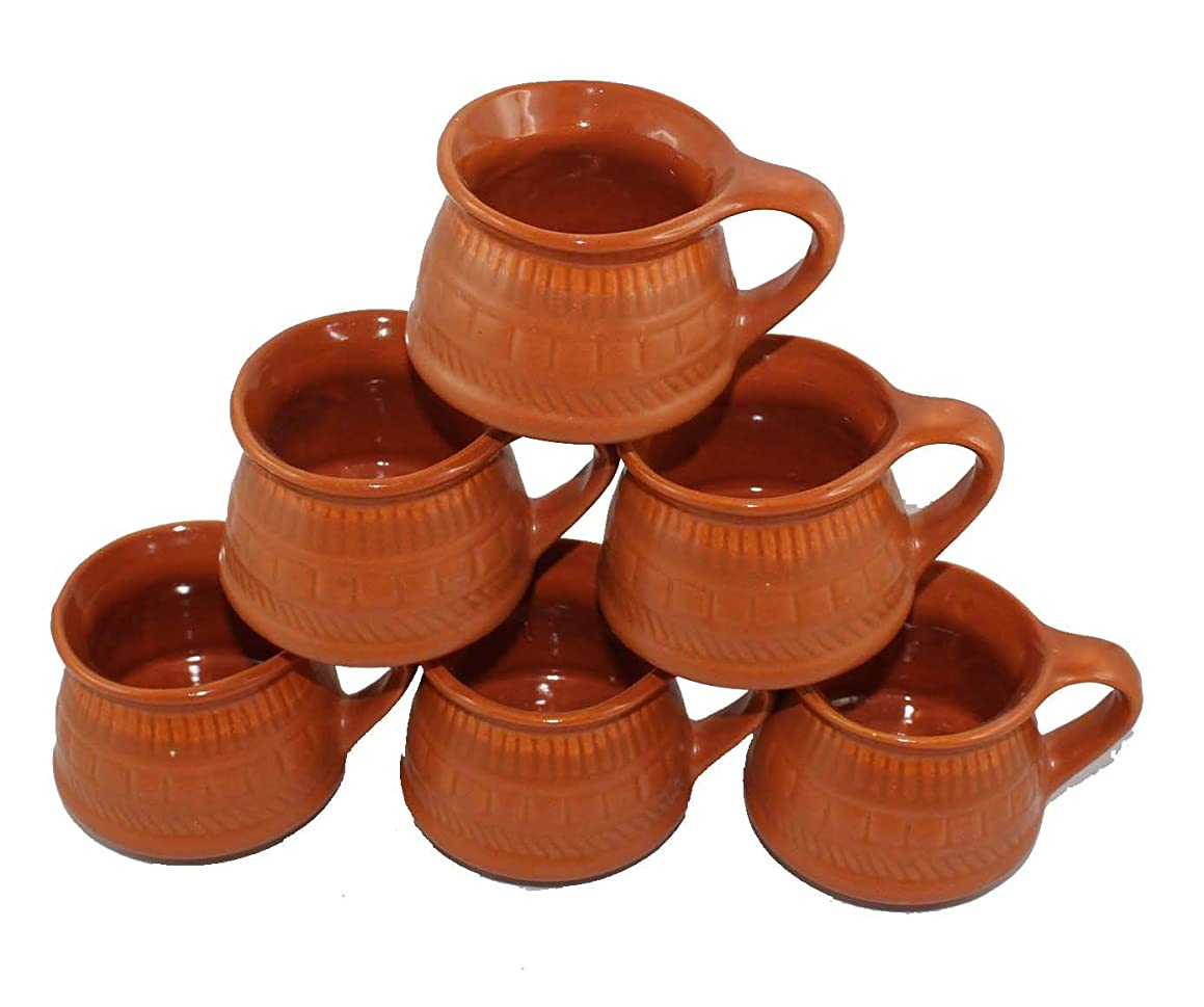 Odishabazaar Ceramic Kulhar Cups Traditional Indian Chai Tea Cup Set of 6 (Brown 3)