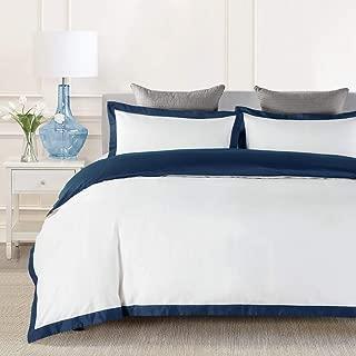 JOHNPEY Duvet Cover King - 1000TC Egyptian Cotton Comforter Cover Set/Bedding Set(1 Duvet Cover + 2 Pillow Shams)- Button Closure(Navy/White)