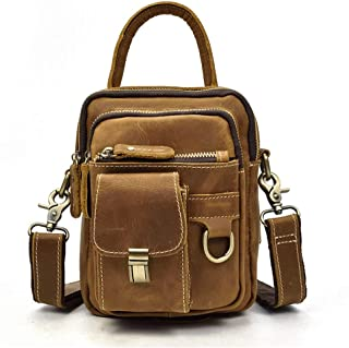 Mens Bag Mobile Phone Bag, Wear-resistant Soft, Comfortable Western Retro Crazy Horse Leather Bag, Locomotive Purse, Leather Messenger Bag, Shoulder Bag, High capacity