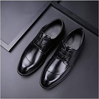 Xiang Ye Business Oxford for Men Retro Wedding Shoes Lace up Genuine Leather Block Heel Burnished Style Rubber Sole Pointed Toe Anti-Slip (Color : Black, Size : 7.5 UK)