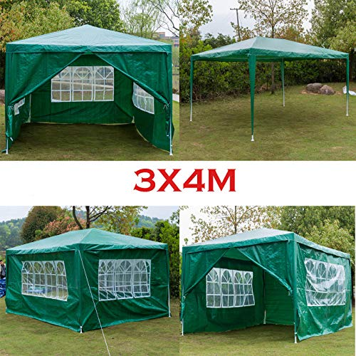 Autofather Gazebo Tent 4m x 3m for Outdoor Party Wedding Event with 4 Removable Side Walls (3 with Windows, 1 with Zip) for all Season, Waterproof - Green