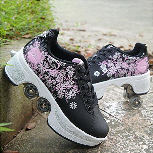NNZZY Multifunktionale Deformation Schuhe Quad Skate Rollschuhe Skating Outdoor Sportschuhe für Erwachsene, Black, 39