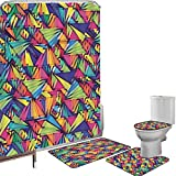 Juego de cortinas baño Accesorios baño alfombras Indie Alfombrilla baño Alfombra contorno Cubierta del inodoro Patrón geométrico de hipster con triángulos ilusión óptica vibrante artístico abstracto d