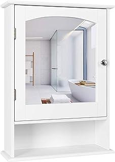 Homfa Bathroom Mirror Cabinet, Wall Mounted Storage Cabinet Medicine Cabinet with Single Door and Adjustable Shelf, Accent...