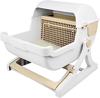 Bevoker 新改良 猫トイレ本体 半自動猫用トイレ 10秒だけ掃除完了 スコップで掃除不要 使いやすい ハーフカバー 砂節約 大きい 大型 猫のトイレ 子ねこから成猫まで使える 組立簡単 ブラウン ホワイト