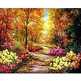 TOCARE - Kit para pintar por números, lienzo para pintar por números, para adultos, niños, decoración del hogar. Lienzo de 40,6 x 50,8 cm Flor del paisaje