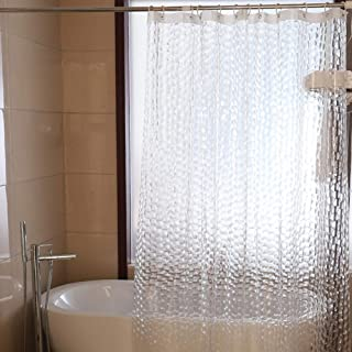 SUMEIYAN 72x72Inches PEVA Heavy Duty 3D Shower Curtain with Hooks, Waterproof 15G Clear Shower Curtain Liner, Eco Friendly