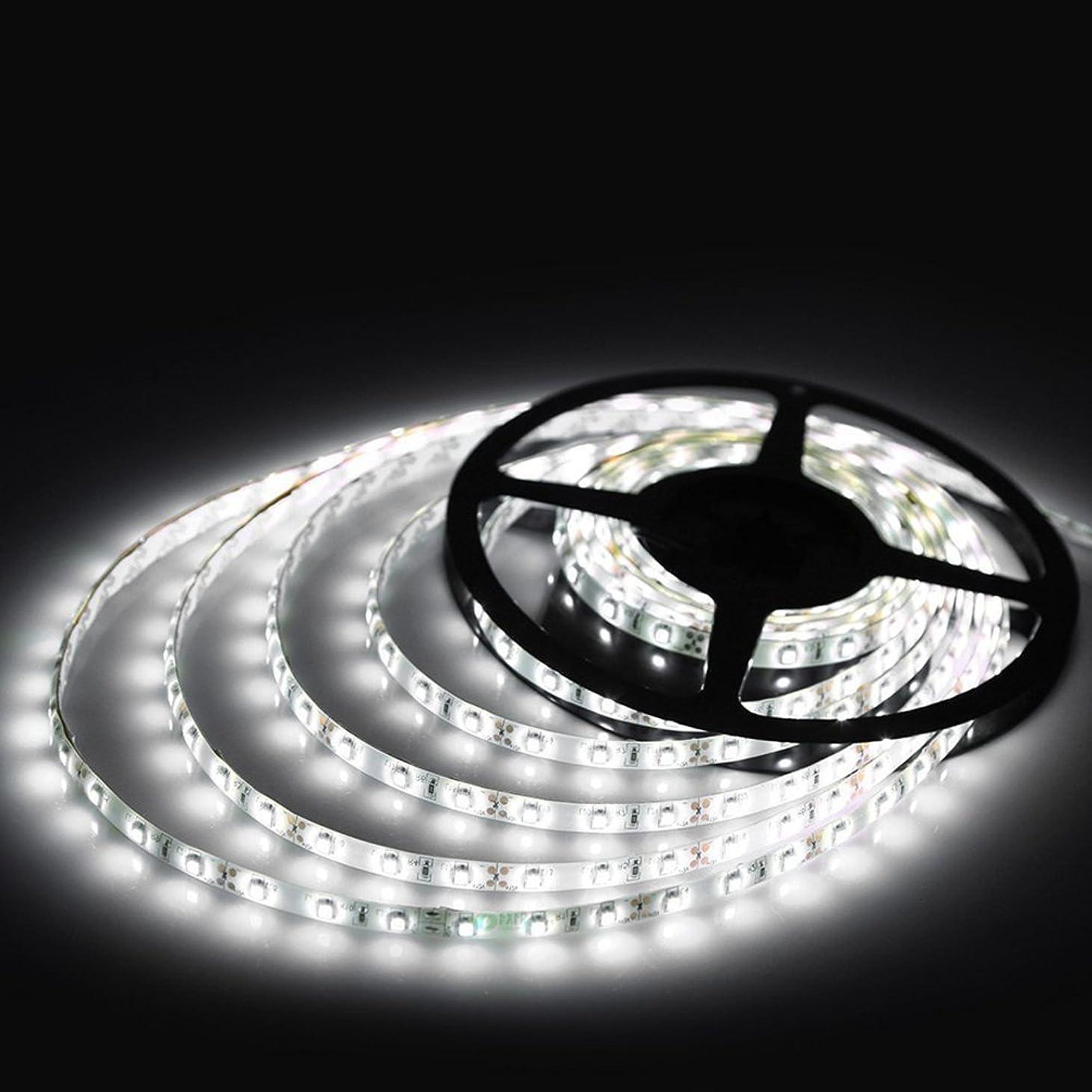 クルーズ消化有益12V高輝度LEDテープライト SMD 2835 3528 5M 300連 強力粘着両面テープ 正面発光防水仕様IP65 切断可能 (ホワイト)