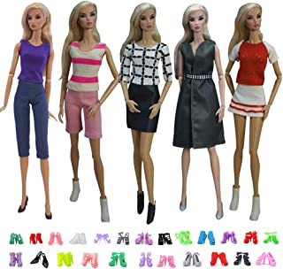 DoubleWood Lot 15 Items 5 Sets Handmade Doll Clothes Outfits Party Dress with 10 Pairs Shoes Replacement for Barbie Doll, 11.5 Inch Girl Dolls Accessories Gift (Style A)