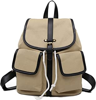 Solid Color Multi Pocket Canvas Backpack Travel School Shoulder Bag Daypack (Color : Khaki)