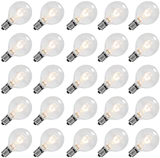 Goothy Clear Globe G40 Screw Base Light Bulbs Replacement 1.5-Inch, 5 Watts, E12 Base, 25 Pack