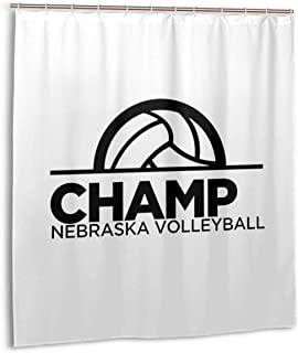 Liujun Celebrate Nebraska Volleyball and Their 5th National Championship! Shower Curtain Panel 66x72 Inch Metal Hooks 12 Pack Extra Long Black Geometric Decor Fabric Bathroom Set Polyester Waterproof
