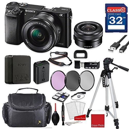 Sony Alpha a6000 Mirrorless Digital Camera (Black) with Sony 16-50mm f/3.5-5.6 OSS Lens (Black) + Professional Accessory Bundle