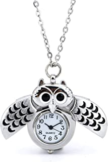 Pocket Quartz Watch Retro Design Sliver owl Roman Character Pendant Necklace with Box and Chain for Mens Women